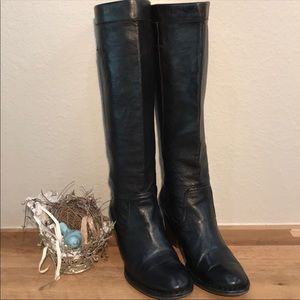 Frye Roray Black Leather Scrunch Riding Boots
